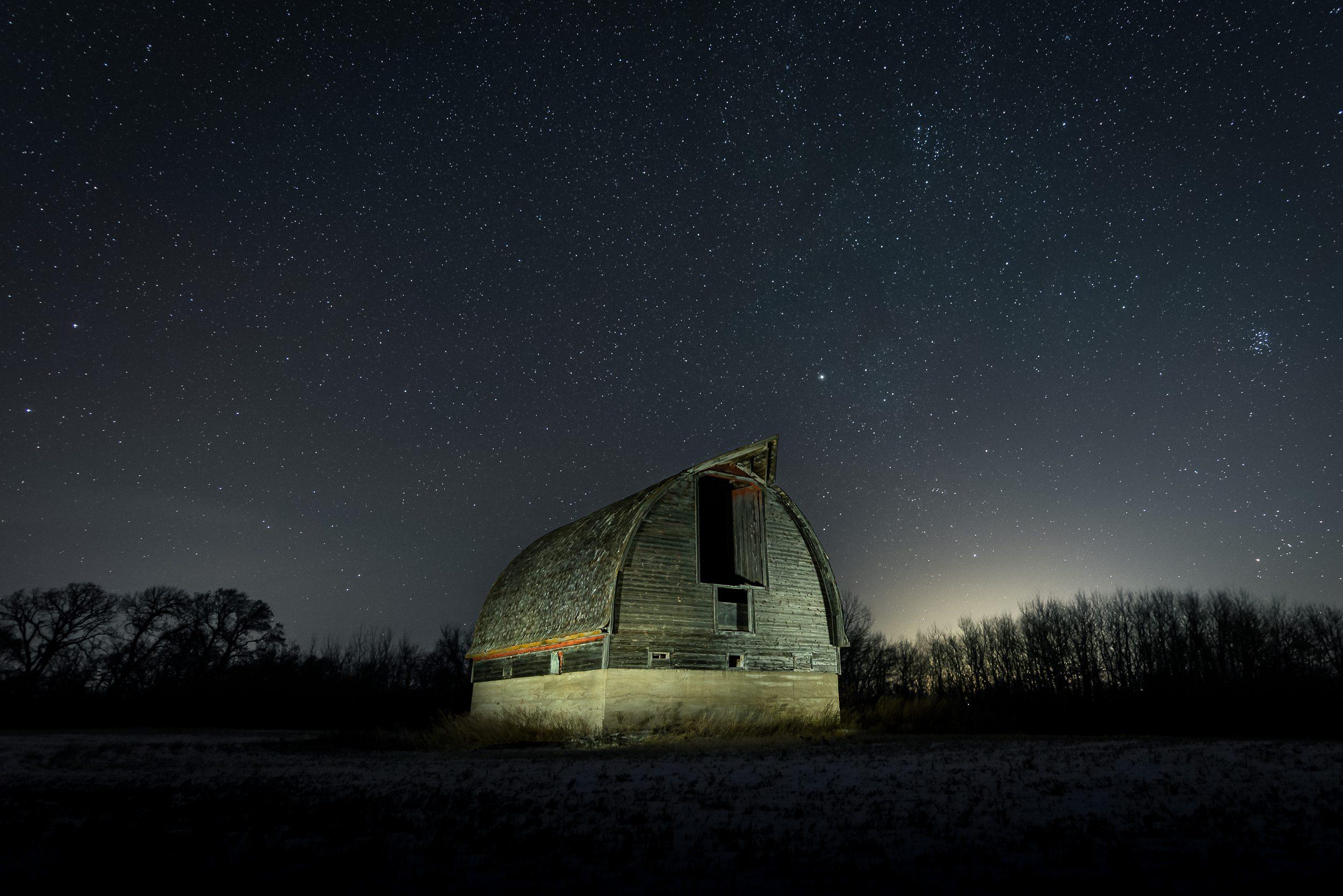Pembina Valley photograph of old barn night landscape