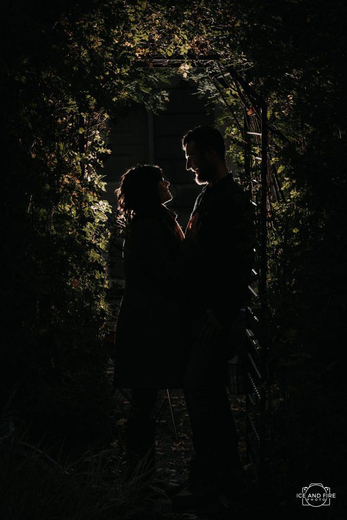 Bella's Castle engagement photo silhouette